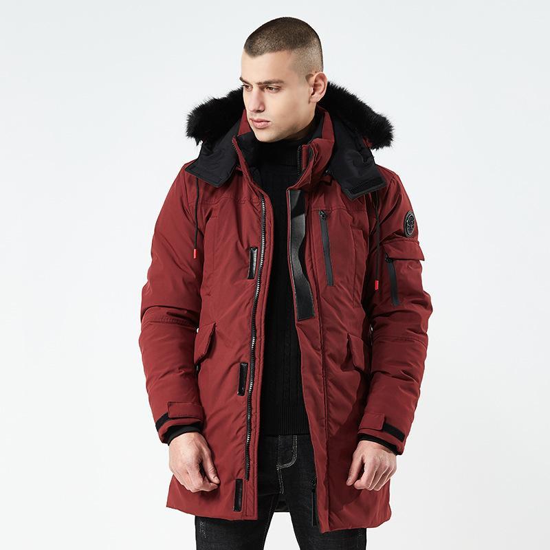 Collar fourrure hommes d'hiver militaire à long Parkas chaud épais coton rembourré Coat Casual pleine capuche Pardessus Veste Homme