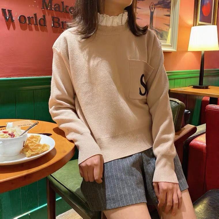 Suéter de las mujeres Otoño e Invierno Moda Mujer S Carta bordado rizado suéteres de alta calidad de las mujeres ocasionales suéter de punto de tamaño S-L