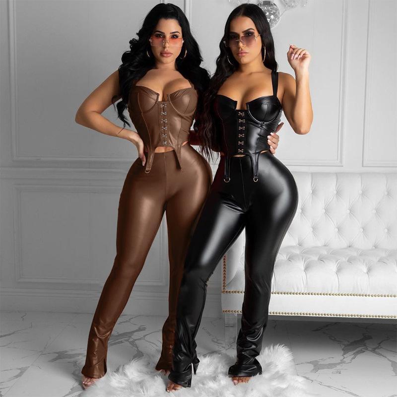 XT127 Solide Black Cuir Cuir Casual Deux pièces Tenues pour Femmes Ensembles Sexy Dentelle Tapard Débardeur Clubwear Pant Street2021