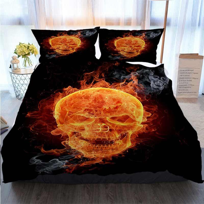 3D Printed Merry Christmas Bedding Set Fire Skull Quilt Bedding Comforter Bedding Sets