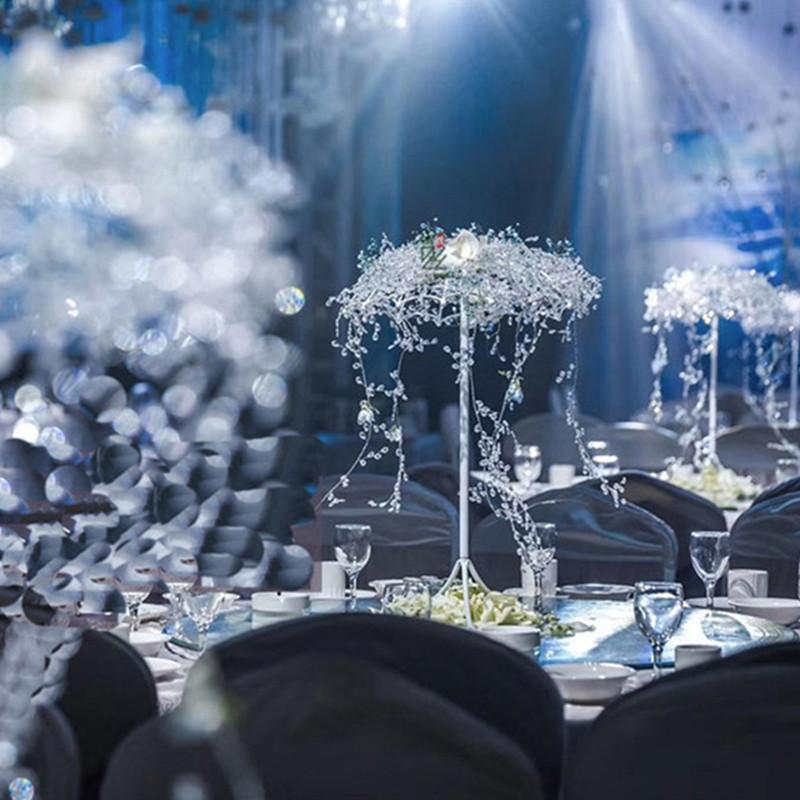 Nueva llegada de la mesa de la boda Centros de mesa decoraciones paraguas flor soporte creativo área de bienvenida metal ornamentos carretera citado