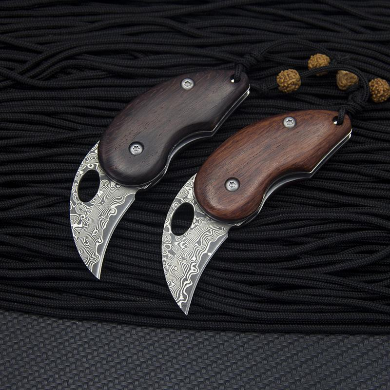 Pareja bolsillo al aire libre cuchilla cuchilla herramienta de acero núcleo de palisandro ébano / vg-10 manija plegable EDC Damasco regalo caliente Damasco Dokih