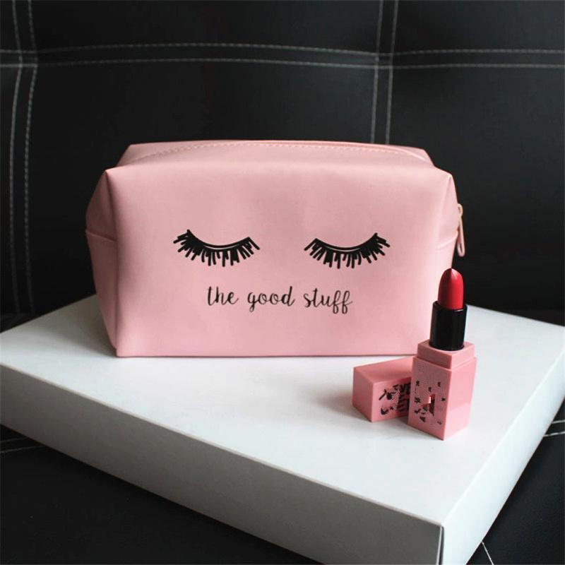1 Pc Bolsa Pink Bolsa Bolsa de Postura Pult PU Mulher Mulher Kawaii Capas de Viagem Cosméticos Vanity Maquiagem Cosmética Kosmetyczka qpdaa