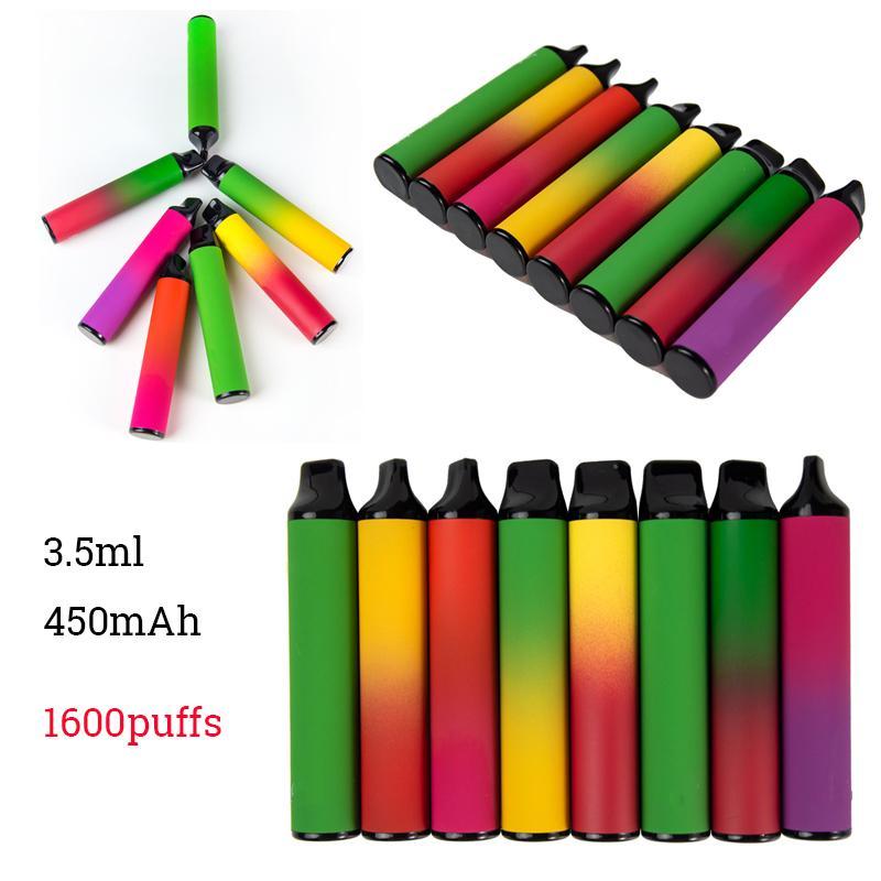 1600 Puffs Vape Vape Pen XXL 3.5ML Vapeurs pré-remplies Vide E Cigarettes Portable Système Starter Kit Vaporisateurs 10 couleurs