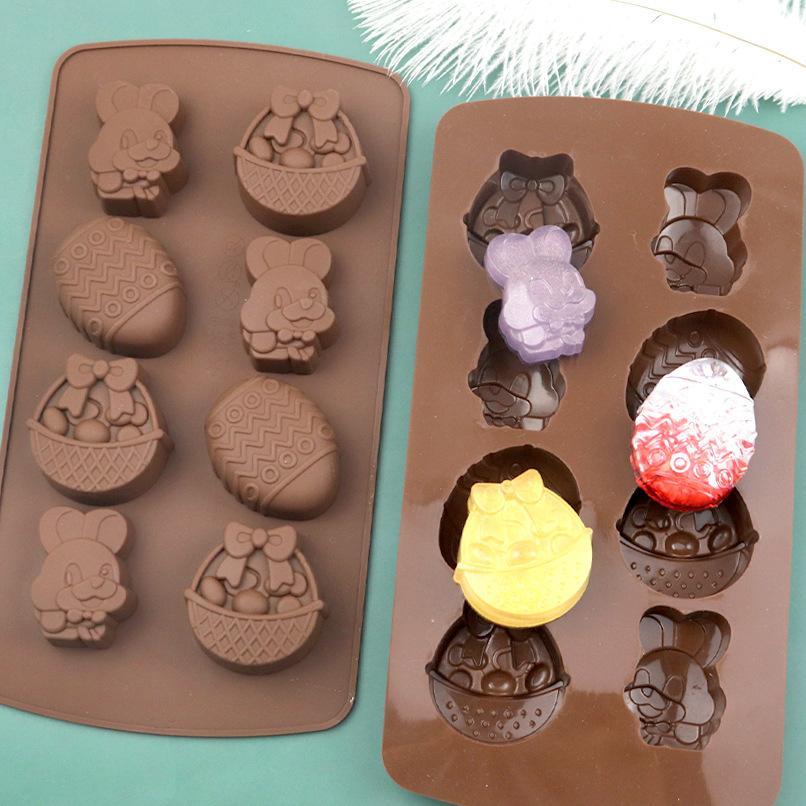 8 Grid Pascua Molde de silicona Fondant Moldes 3D DIY Conejito Huevo de Pascua Formas de huevos de chocolate y molde de pastel de chocolate