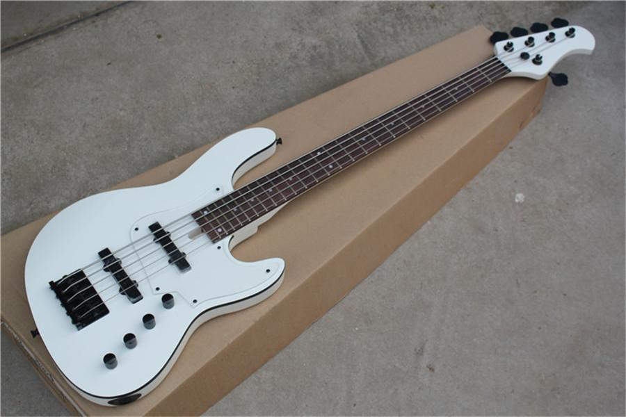free shipping jazz bass white guitar,5 string electric bass,basswood body, rosewood fingerboard,black binding,acrylic pickguard