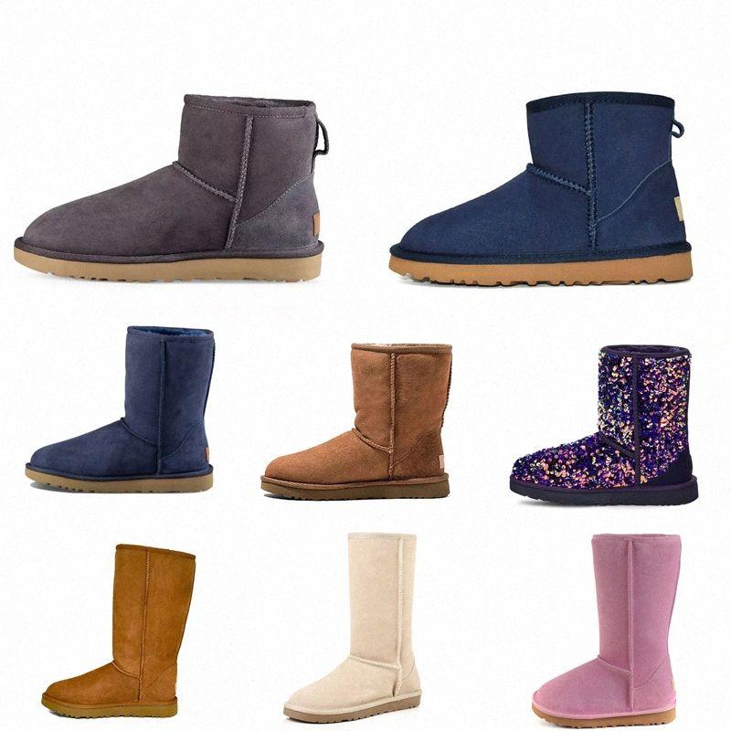 2021 Kadın Avustralya Klasik Kar Avustralya Çizmeler Ayak Bileği Kısa Yay Kürk Boot Uzun Kış Kestane Patik Boyutu için Q3ZF #