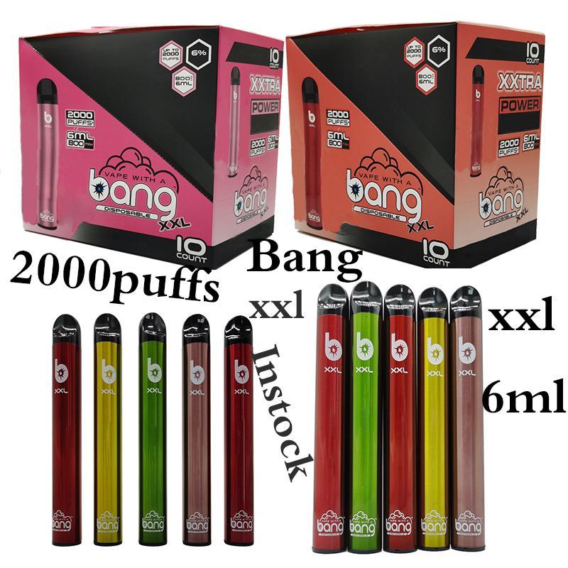 Bang XXL Disposable Vape Pen Disposable Vape Starter Kit Pod Device 2000PUFFS Bang Vape Cartridges 800mAh Battery Instock E Cigarette Vapes