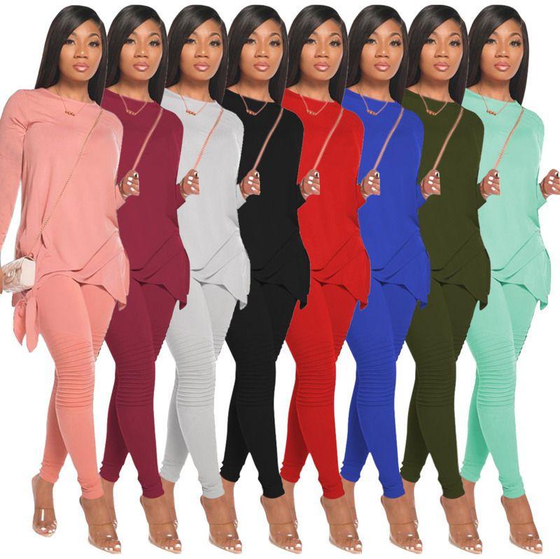 디자이너 여성 2 조각 세트 패션 솔리드 활 긴 소매 티셔츠 연필 바지 복장 여성 캐주얼 풀오버 바지 정장 8 색
