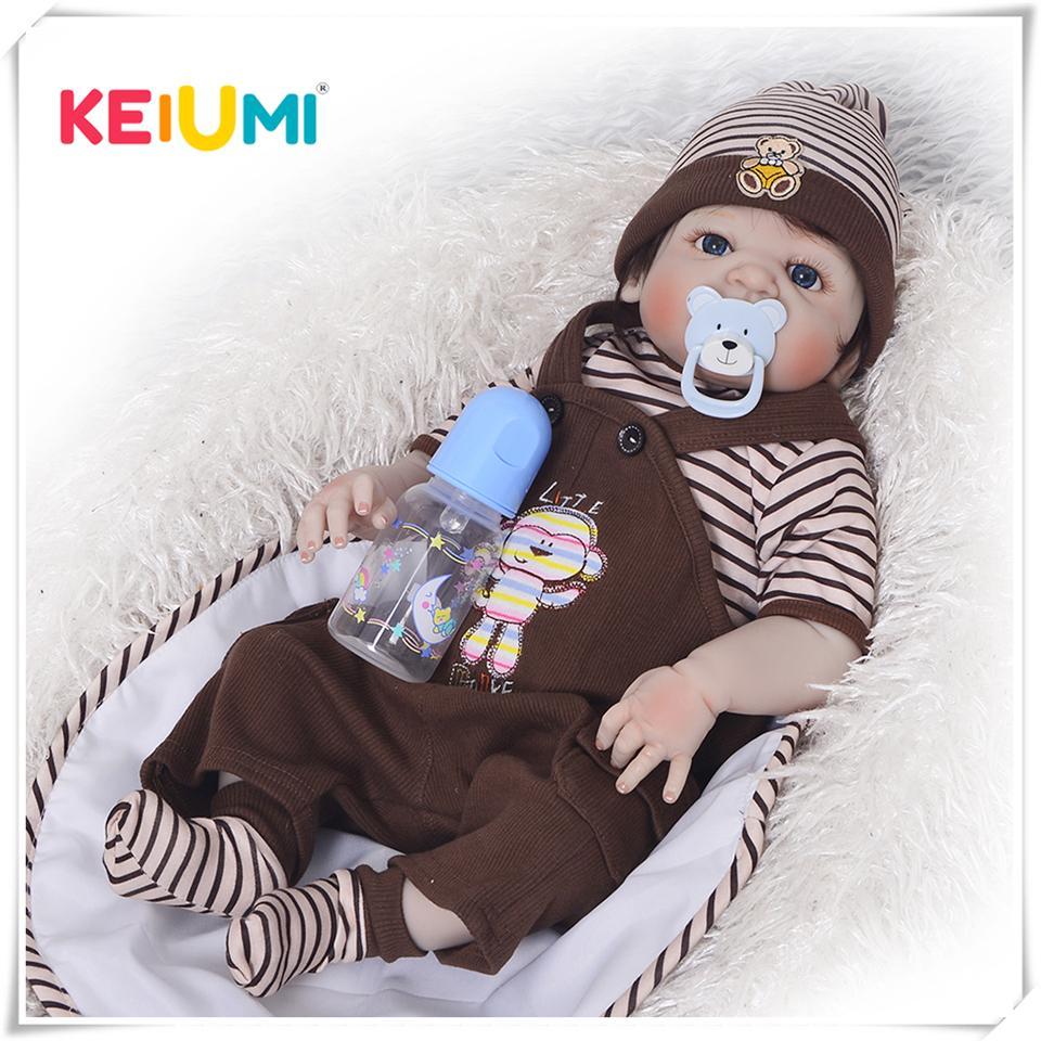 KEIUMI Newborn doll 57 cm Realistic Full Silicone 23 inch Reborn Baby Doll For Sale Lifelike Baby Dolls Kids Playmate Xmas Gifts 201021