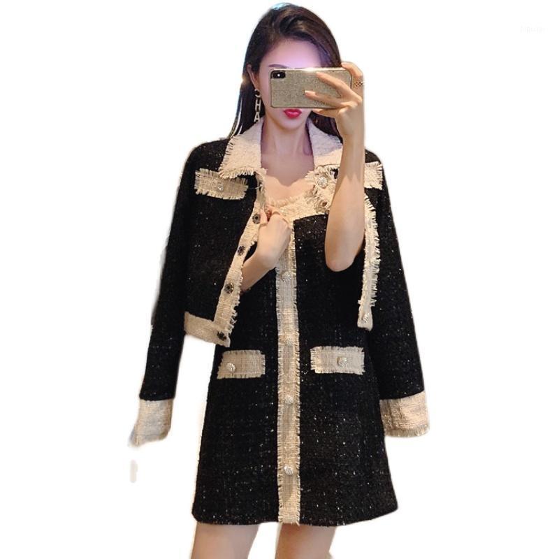 Automne hiver mode femme tweed 2 pièce ensemble vintage noir short veste manteau de laine mélanges de laine mini robe costume vêtements de fête1