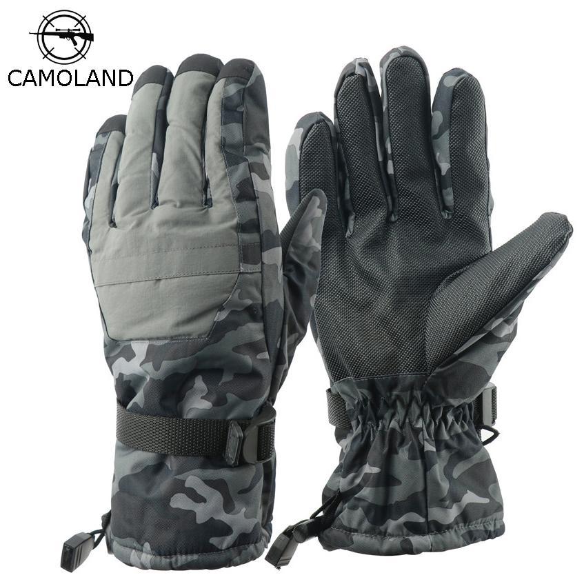 2019 Nouvelle hiver Gants de ski hikingcamping épaississent hommes camo antidérapants gant imperméable Utiliser mitaines thermiques tactique