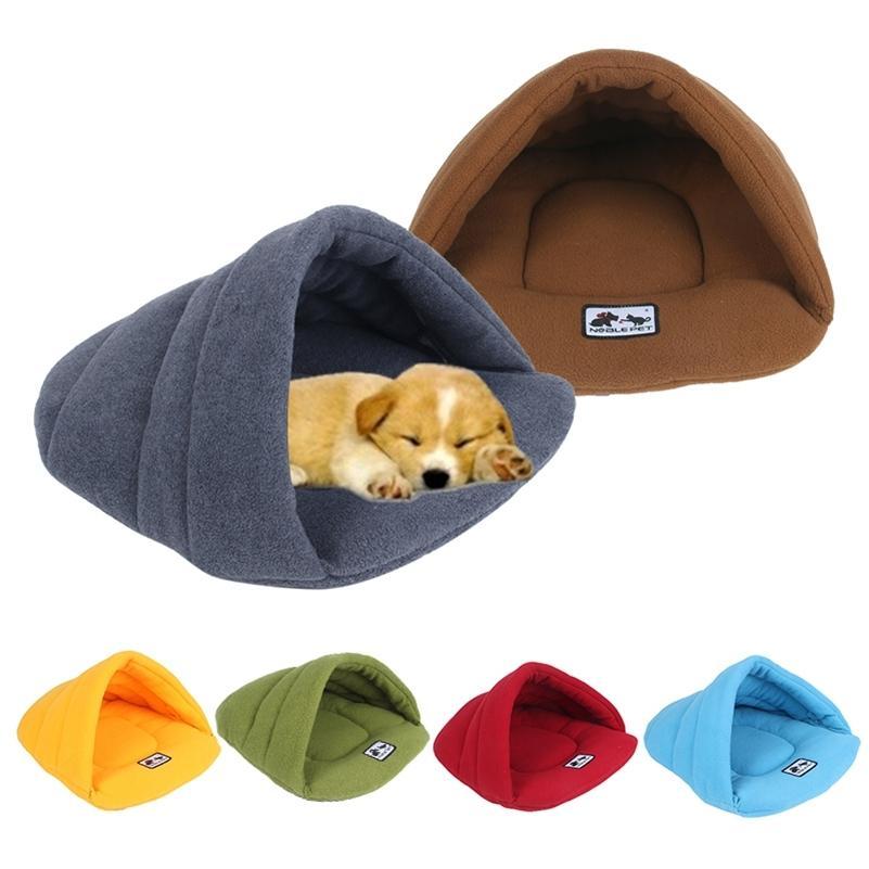 6 ألوان لينة القطبية الصوف الكلب سرير الشتاء الدافئ حيوان أليف ساخنة حصيرة كلب صغير جرو بيت الكلب ل القطط النوم حقيبة عش كهف السرير LJ200918