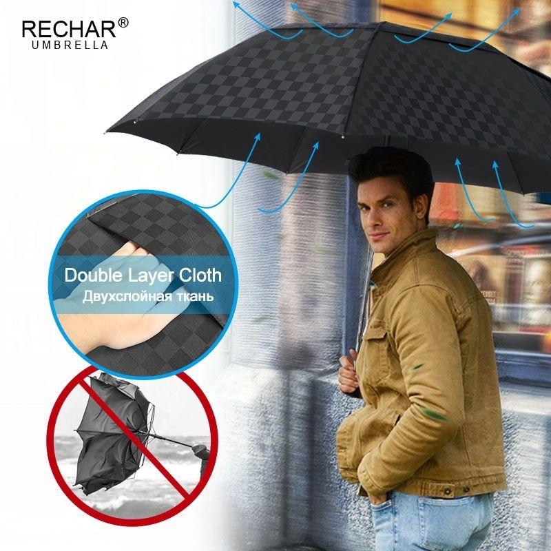 Doppio strato 120 cm Grande ombrello da pioggia Donne Viaggio Grid Grid GRANDE PARAGUAS PARAGUAS 4FLUSSING 10K Vento Affari Affari uomini Ombrello 201123