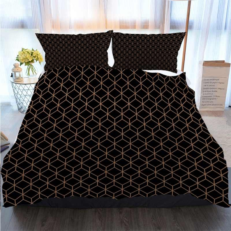 Christmas Halloween Thanksgiving 3 Piece Duvet Cover Sets Abstract Geometric Background Cubes Duvet Cover Designer Bed Comforters Sets