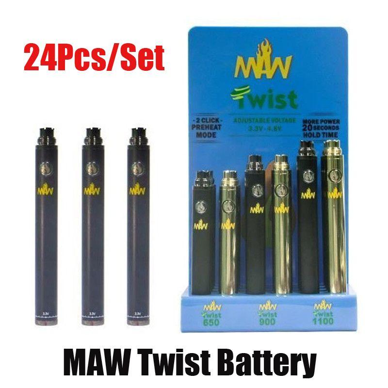 24pcs / set Maw Twist Battery Bottom VV Preheat 650mAh 900mAh Modalità 1100mAh con scatola di visualizzazione 510 Cartuccia del serbatoio filo Slim VAPE Kit Pen