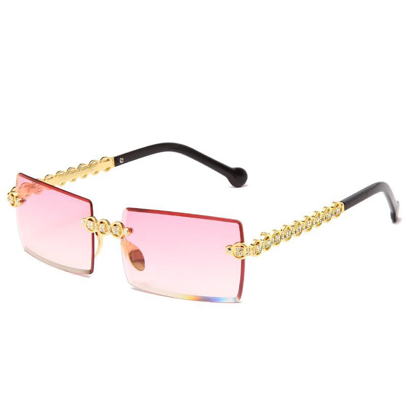 Fashionless Diamond Diamond Gafas de sol Diseño de marca Mujeres Pequeñas gafas de sol cuadradas Sombras de metal de lujo UV400 Gafas de Sol