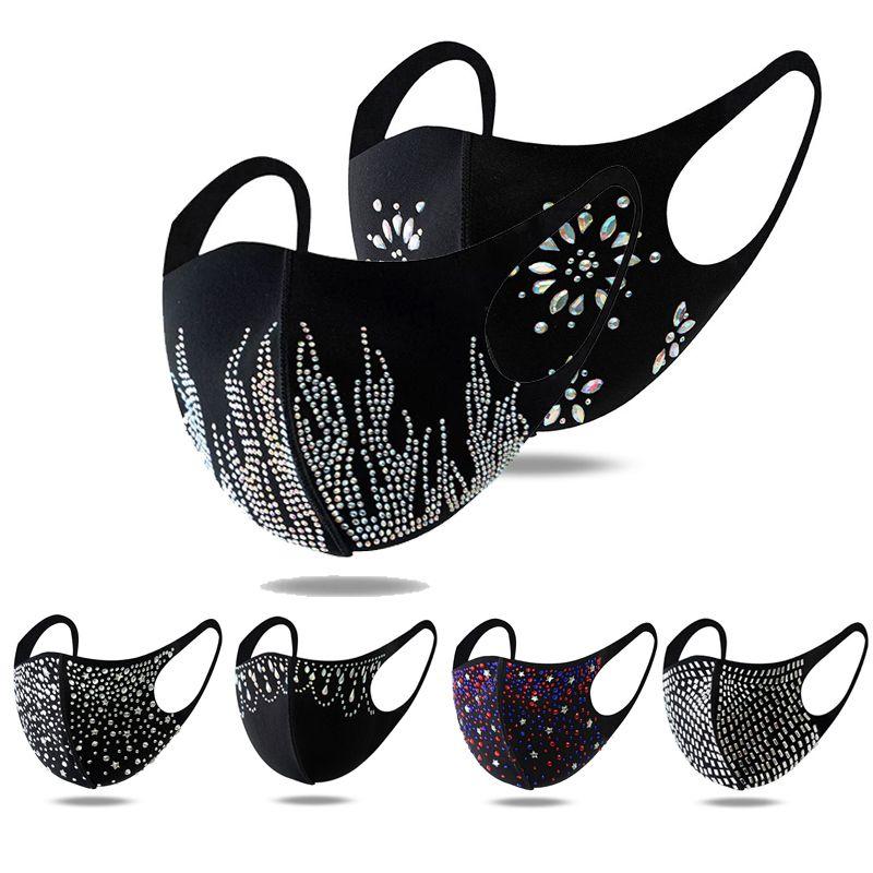 Fashion Bling Diamond Face Mask Lavabile Riutilizzabile Copertura Shield Shield Paillettes Designer Shiny Party Masks PACCHETTO INDIVIDUALE