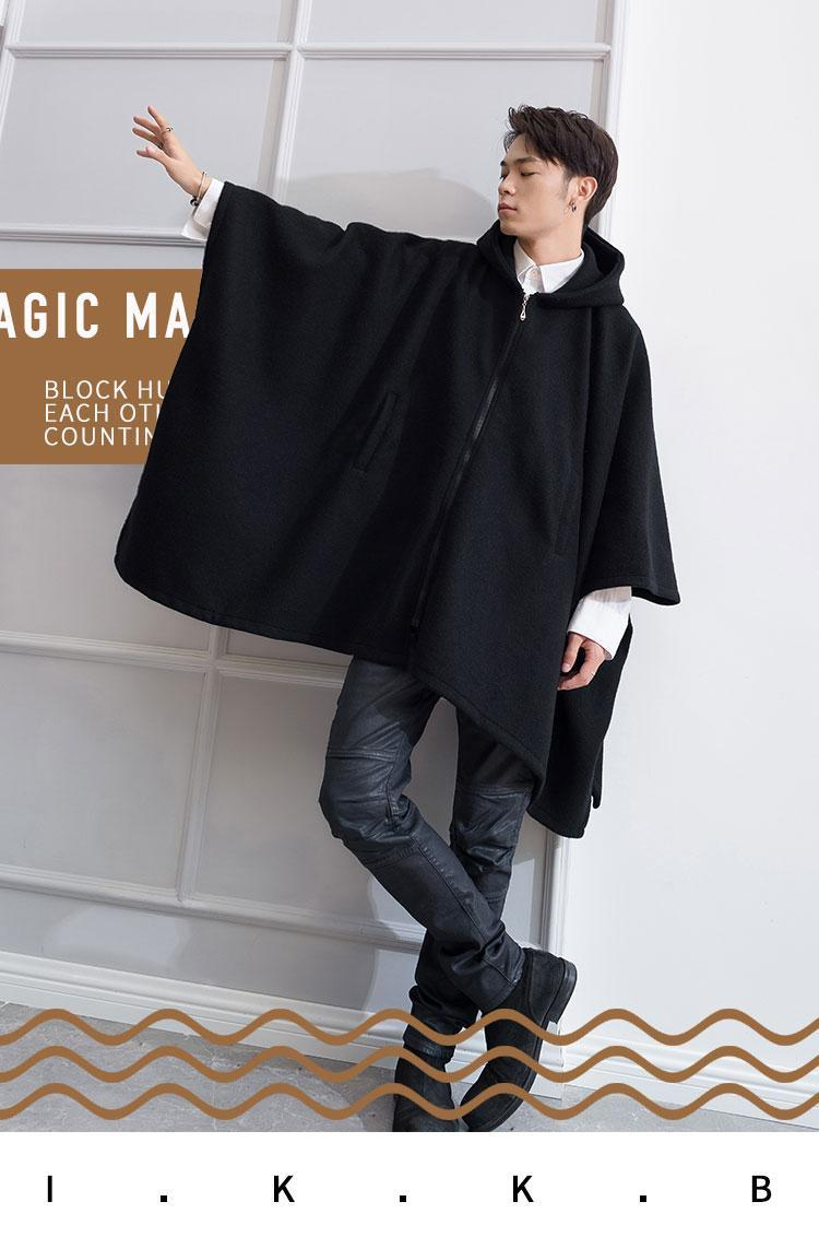 Nouvelle jeunesse Automne et hiver marée manteau hommes personnalité lâche manteau en tweed Cape longue laine épaisse