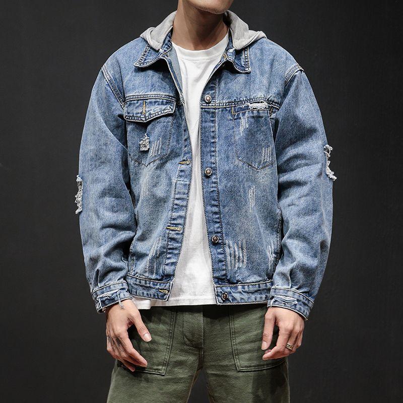 Осенний мужской с капюшоном джинсовая тенденция мода красивый синий ретро джинсовый пальто одежда весенние отверстие мужчины повседневная куртка