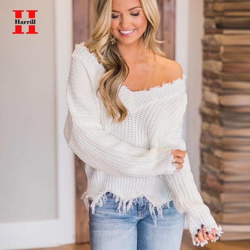 Harrill V-Ausschnitt Quaste Pullover für Frauen Gestrickte Weibchen Tops Langarm Pullover Pullover Damen aus der Schulter Pullover Frühling Y200720