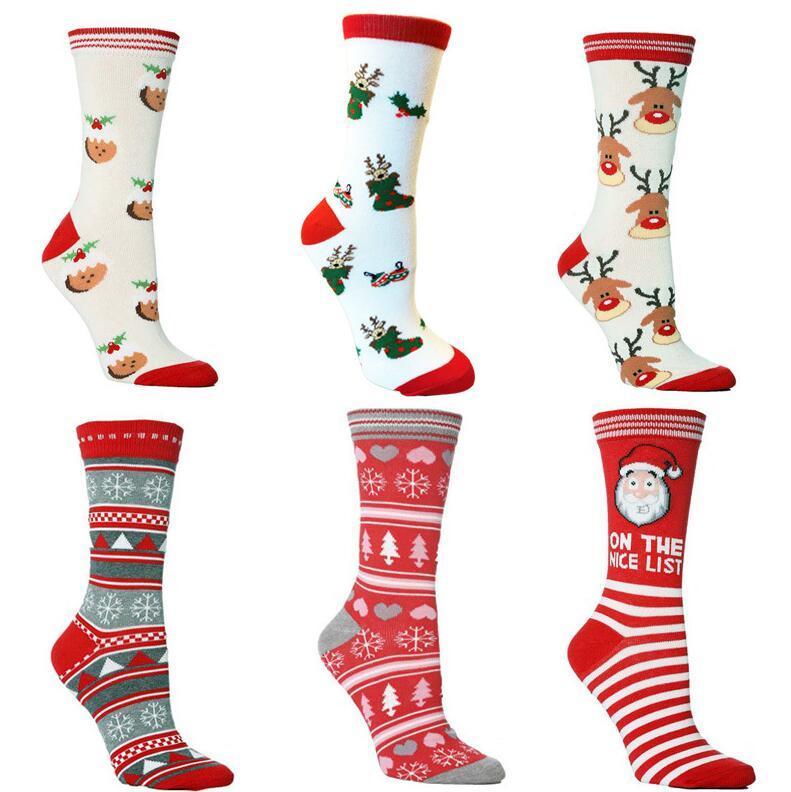 Le scorte di Natale Calze di natale del fumetto Babbo Natale Elk fiocco di neve Campana Stampato Uomini Donne Cotton Socks in tubo di calze per adulti CZ102401