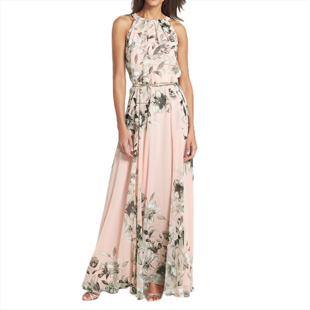 2020 Seksi Kadınlar şifon Uzun Elbise Çiçek Baskı Yuvarlak Yaka Kolsuz Parti Elbise Boho Maxi Elbise Pembe Yaz Plaj Sundress