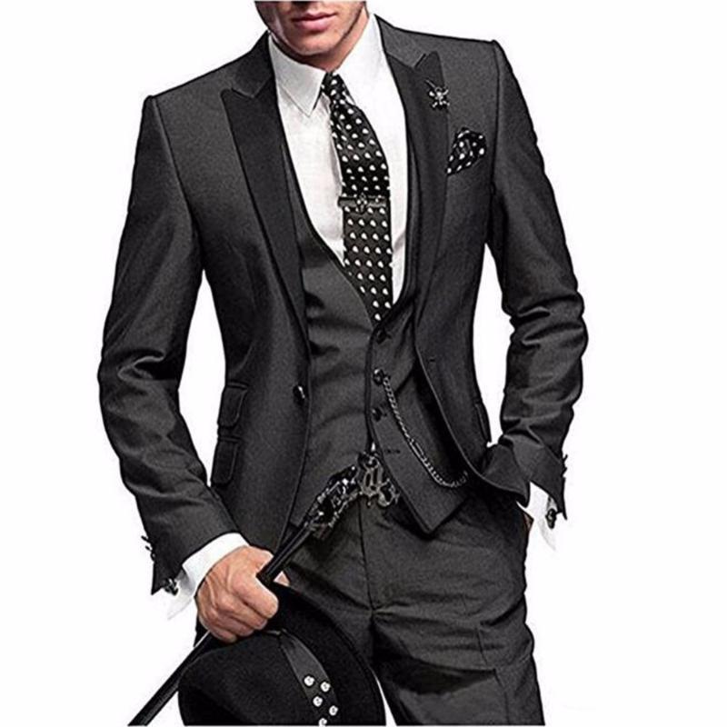 One Button 3 Piece Men Suit Slim Fit Coat Pant Design Notch Lapel Wedding Party Blazer Groom Tuxedos(Jacket+Pants+Vest+Tie)