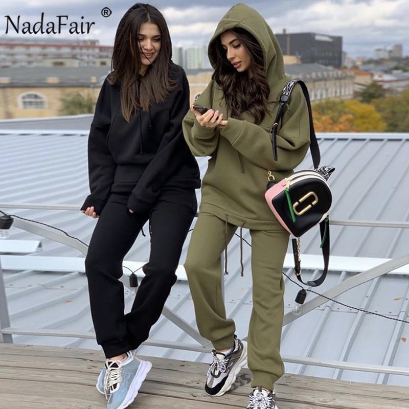 Nadafair Dos piezas Set 2020 Otoño Chándal de invierno Sudadera con capucha y pantalones Casual Outfits de 2 piezas para mujer Traje deportivo C0129