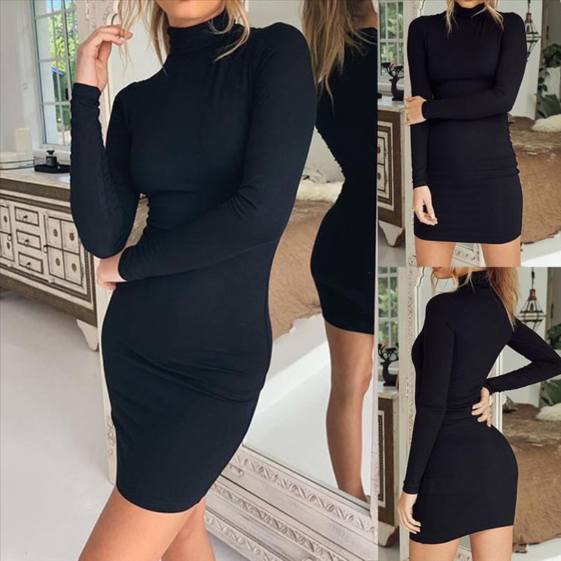 Mode Stand Vestido Feste Mantel Kleid S Mujer Langarm Mini Frauen Sexy DE Hals Damesjurk 2021 Enge RVCCU
