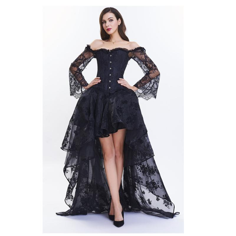 Vestido atractivo gótico de la ropa interior de encaje Korset con las tapas calientes Bustier conjunto de Steampunk del corsé del partido del traje club de las mujeres que adelgaza la talladora del cuerpo de
