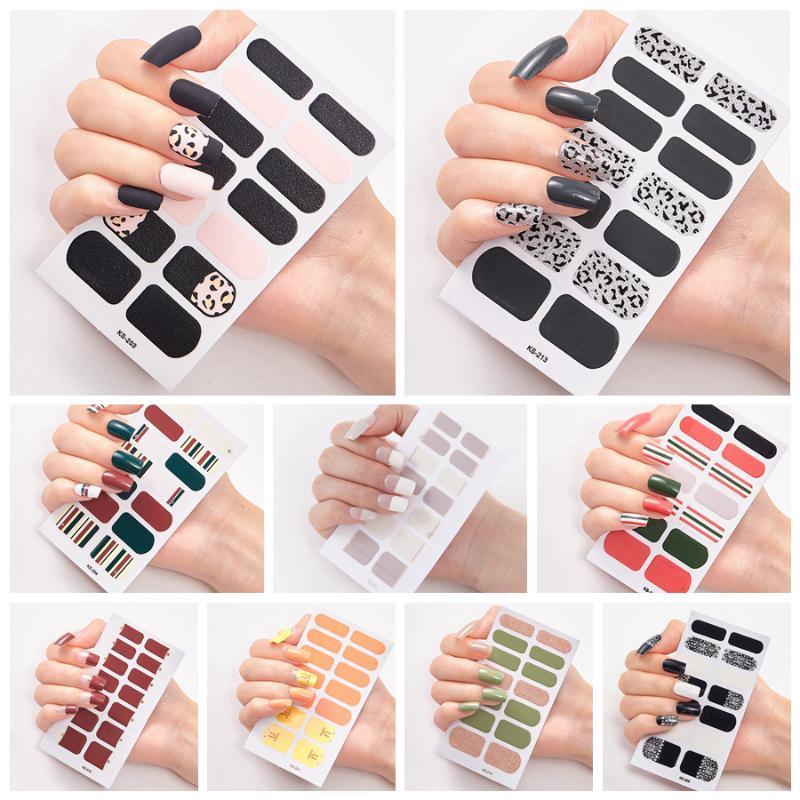 Полные гвоздики для ногтей Искусство Польские наклейки Леопардовые полоски наклейки Клей Ложный дизайн ногтей Маникюр набор 3D блестящие наклейки