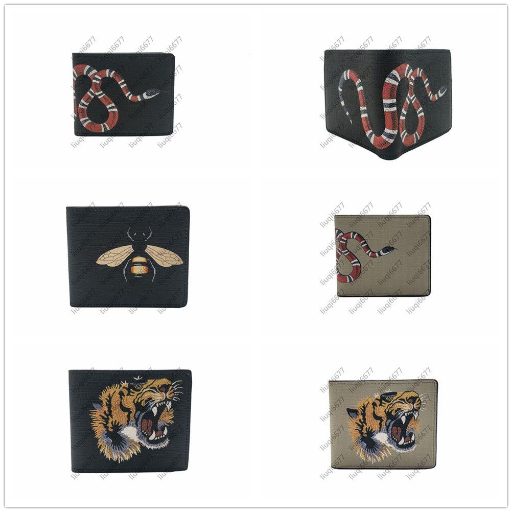 고품질 남성 동물 짧은 지갑 가죽 검은 뱀 호랑이 꿀벌 지갑 여성 지갑 지갑 카드 홀더 선물 상자