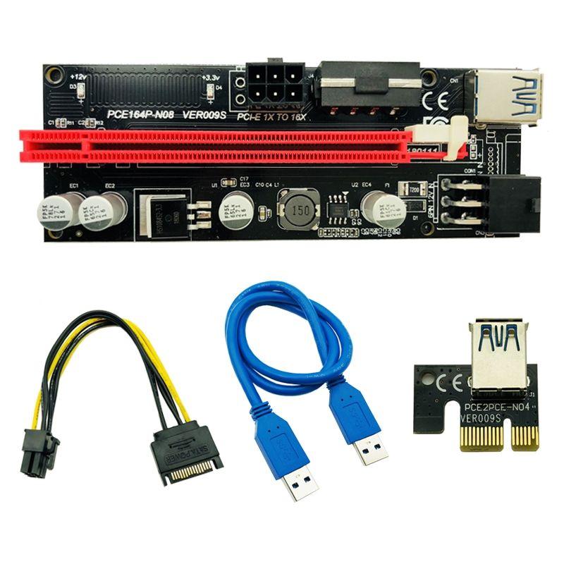 Ver009 USB 3.0 кабельный SATA 15PIN до 6 PIN POW PCI-E Riser Express 1x 4x 8x 16x Удлинитель Riser Adapter Card для Bitcoin BTC Miner Mining