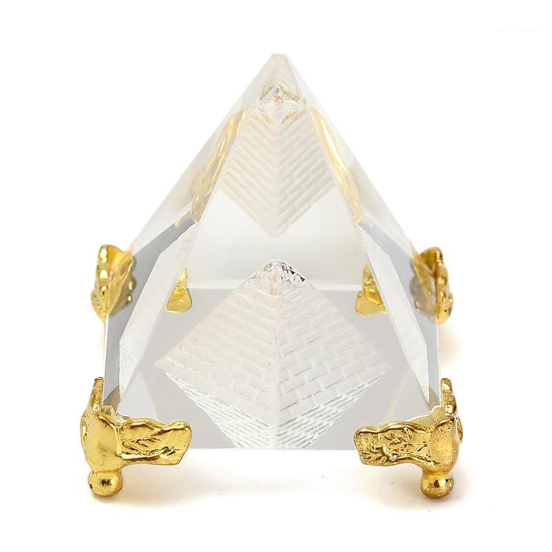 Ägypten Kristallglas Hohlpyramide Metallbasis Papiergewichte Fengshui Figur Wicca Handwerk Home Hochzeit Büro Dekor Ornamente1