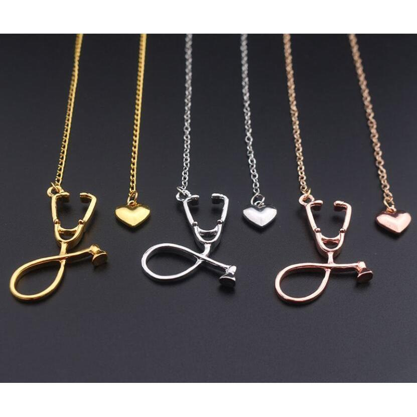 Moda de jóias médicas liga eu te amo coração pingente colar estetoscópio colar para enfermeira doutor jóias presente atacado npamt