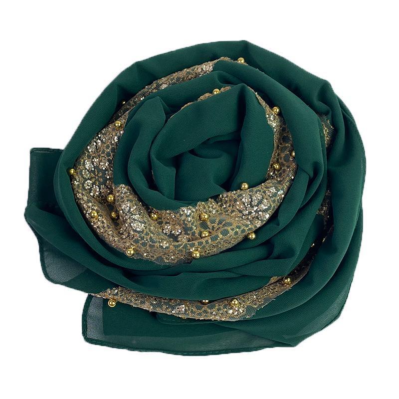 En mousseline de soie lourde écharpe Solider couleur longue écharpe souple Wrap Taille Plus Châle Foulards Paillettes femme bufandas Hijabs perles Perles