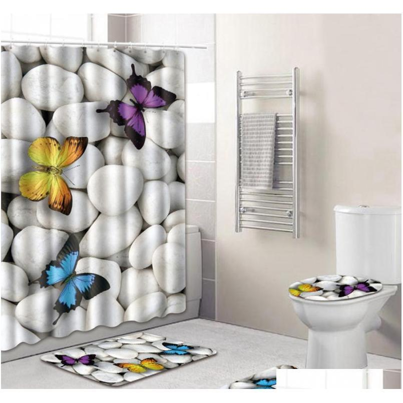 4pcs Set Bathroom Accessories Non-slip Pedestal Rug + Lid Toilet Cover + Bath Mat+shower Curtain Bathroom De qylAPu sweet07