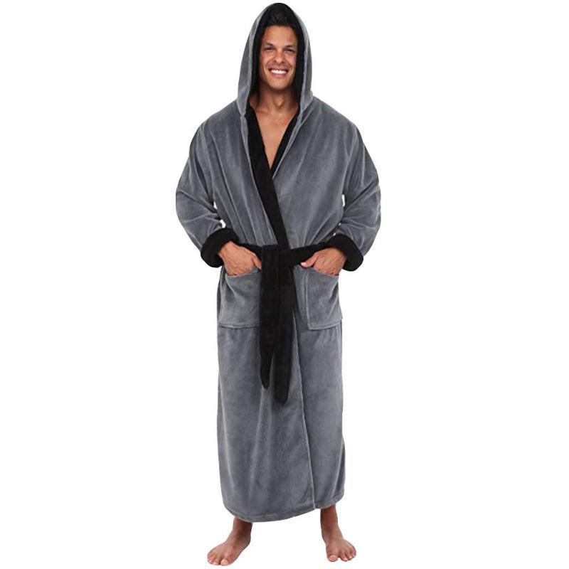 Moda Rahat Erkek Bornoz Flanel Robe Kapşonlu Uzun Kollu Çift Erkekler Kadın Robe Peluş Şal Kimono Sıcak Erkek Bornoz Coat