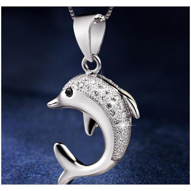 HYWO 925 Ayar Gümüş (Zincir Olmadan) Trendy Ve Klasik Aşk Sonsuza Dolphin Desen Kadın Kolye Kolye Hipoall SQCXTS Queen66