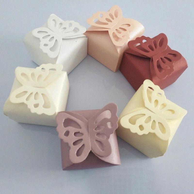 50pcs Coupes Laser Coupes de papillon Boîtes-cadeaux Pliant Bricolage Candy Box Baby Douche Favoriser une faveur Baby Douche Douche Jour Naire fête BX59 #