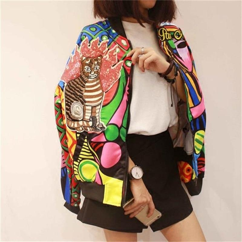 Nueva reina bordado de la chaqueta de bombardero mujeres Harajuku del gato piloto chaqueta ocasional de la capa de impresión básico de béisbol chaquetas Outwear jaqueta 201015