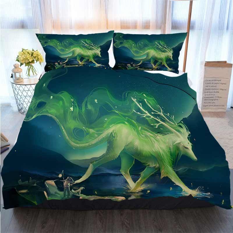 3D Imprimé Joyeux Noël Literie Set Peintures sont toujours verts luminescents animaux Marcher Polyester housse de couette Ensembles de literie de luxe