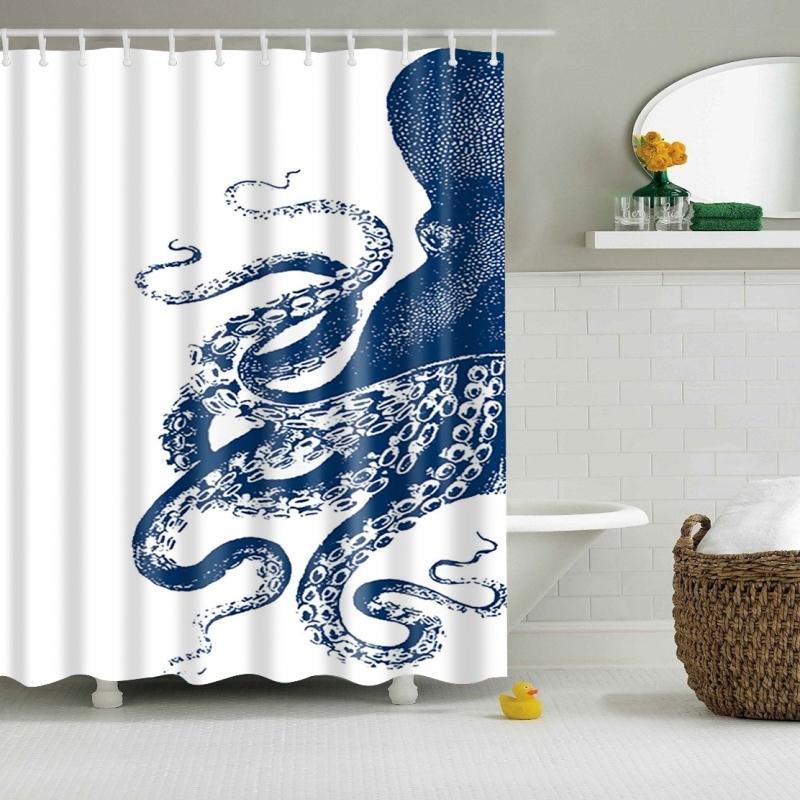 Rideau de salle de bain de douche de douche neuve à motif pieuvre Rideau respectueux de l'eau en polyester étanche Tissu Rideau de douche avec 12 crochets T200711
