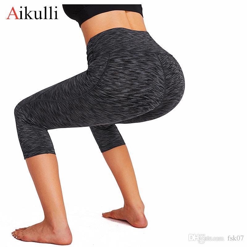 Aikulli المرأة تشغيل السراويل تجريب خارج طماق الجيب اللياقة البدنية عالية الخصر الجوارب سليم رياضة رياضة اليوغا الرياضية KG-180