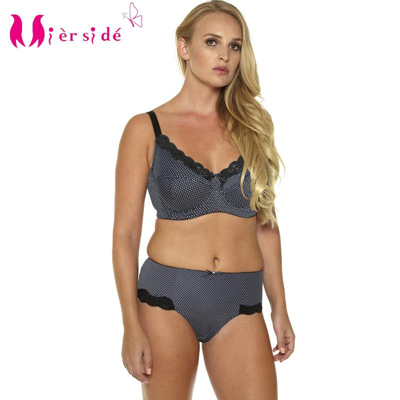 Mierside Hot Women Sexy Underwear Big Size Printing Plus Bra Set 36-46C/D/DD/DDD/E/F/G sexy casual brief and bralette BL953P Set Y200708