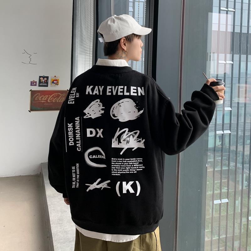 43nry ceket yeni kol 2020 uzun yuvarlak boyun eğilim gençlik spor Erkek giysileri kazak Coat gündelik sweatersweater gevşek LFZ3l