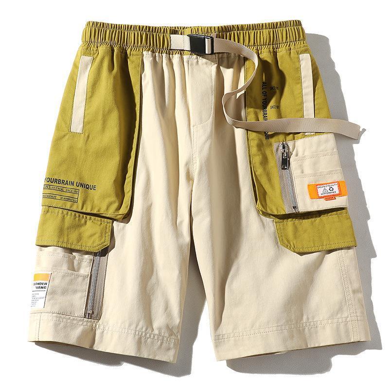 2020 Verão Streetwear Homens Shorts Fitas Pockets Casual de carga Shorts Bermuda joelho Patchwork Homens
