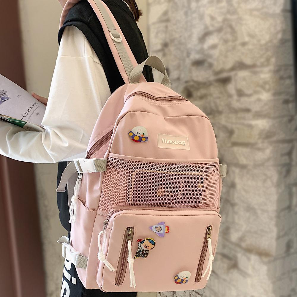 Lady Nylon Cartoon Badge Kawaii Female School Mesh Girl Book Cute Backpack Women Student Net Bag Fashion Trendy New Q1113