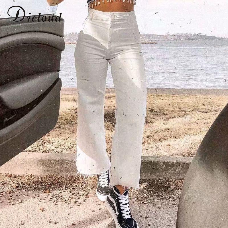 Calças DICLOUD Casual perna larga Branca Jeans Mulheres cintura alta Moda Outono Inverno solto Streetwear longa das senhoras com bolsos 200930